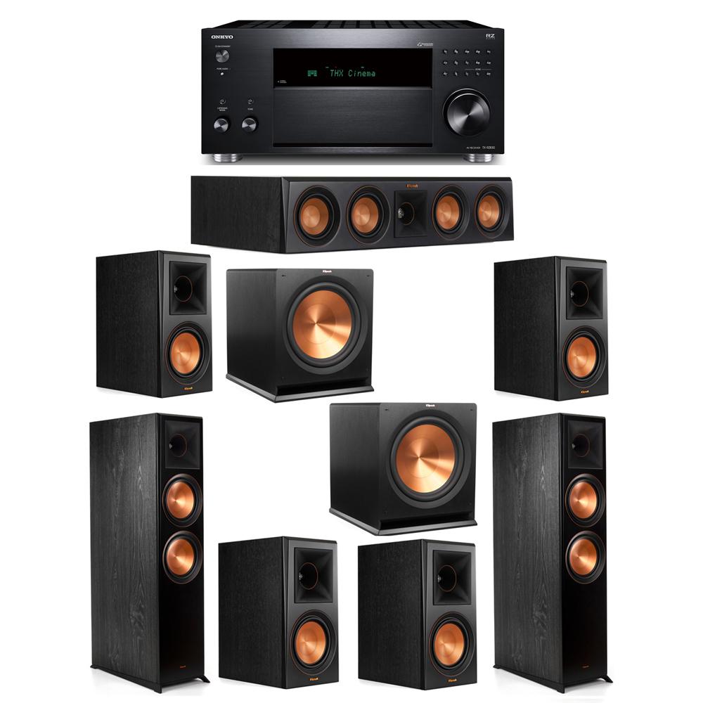 Klipsch 7.2 System with 2 RP-8000F, 1 RP-404C, 4 RP-600M, 2 R-115SW, 1 Onkyo TX-RZ830 Receiver