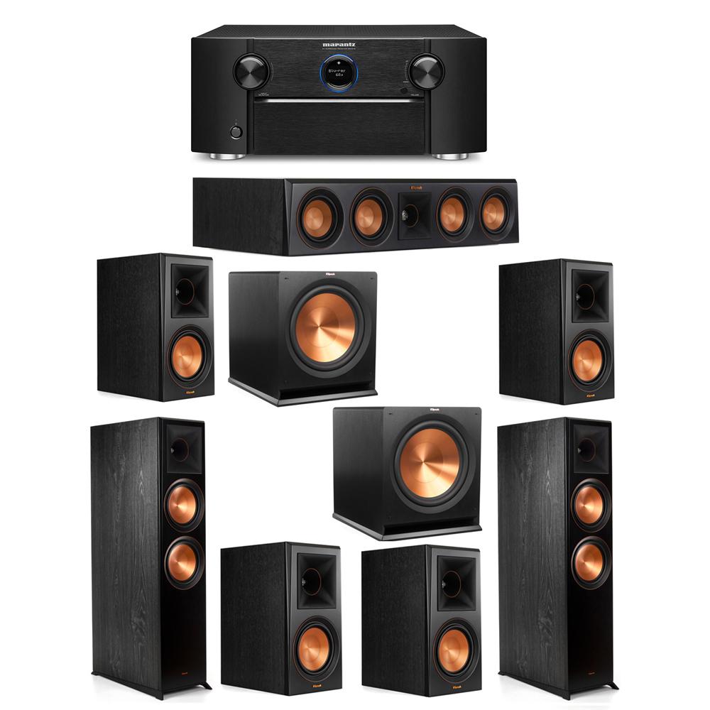 Klipsch 7.2 System with 2 RP-8000F Floorstanding Speakers, 1 Klipsch RP-404C Center Speaker, 4 Klipsch RP-600M Surround Speakers, 2 Klipsch R-115SW Subwoofers, 1 Marantz SR7012 A/V Receiver