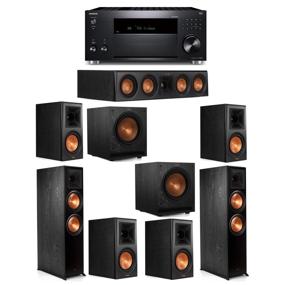 Klipsch 7.2 System with 2 RP-8000F, 1 RP-404C, 4 RP-600M, 2 SPL-100, 1 Onkyo TX-RZ830 Receiver