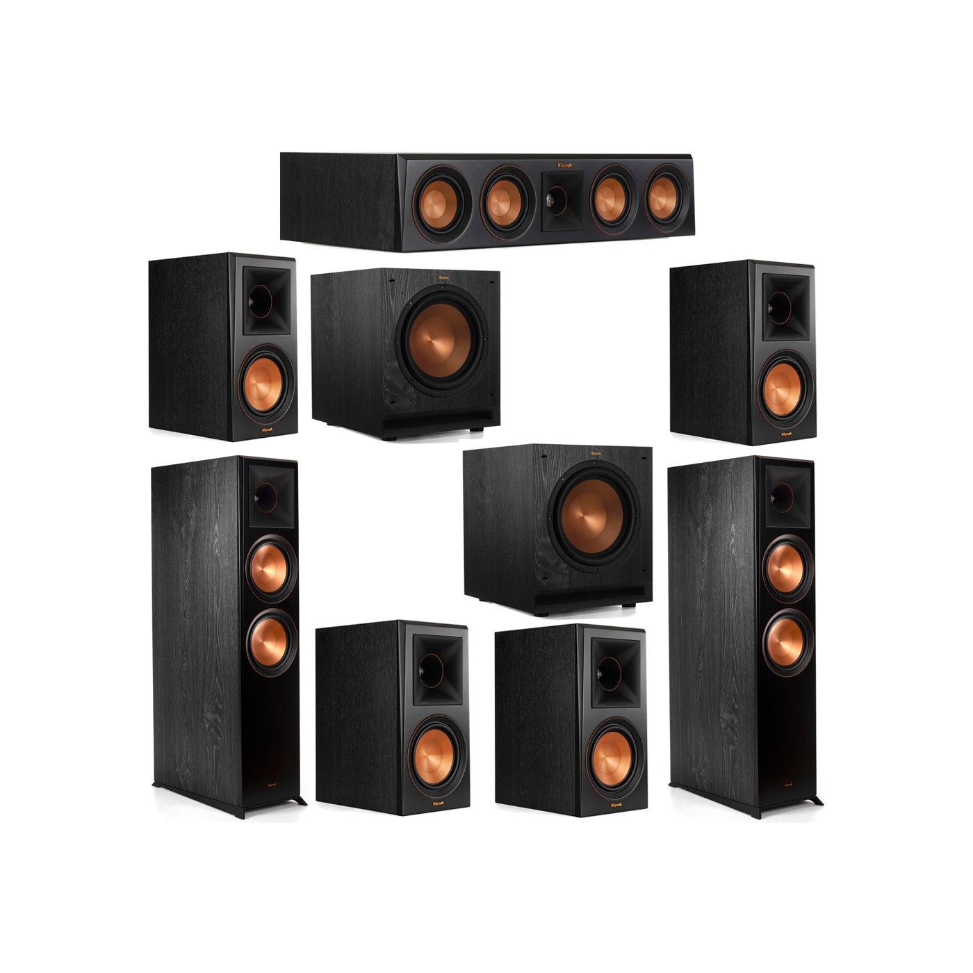 Klipsch 7.2 System with 2 RP-8000F Floorstanding Speakers, 1 Klipsch RP-404C Center Speaker, 4 Klipsch RP-600M Surround Speakers, 2 Klipsch SPL-100 Subwoofers