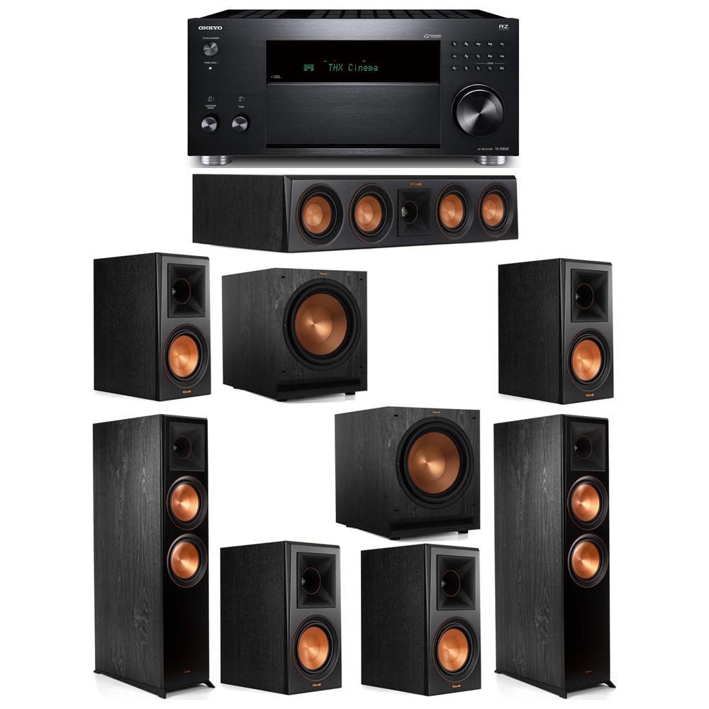 Klipsch 7.2 System with 2 RP-8000F, 1 RP-404C, 4 RP-600M, 2 SPL-120, 1 Onkyo TX-RZ830 Receiver