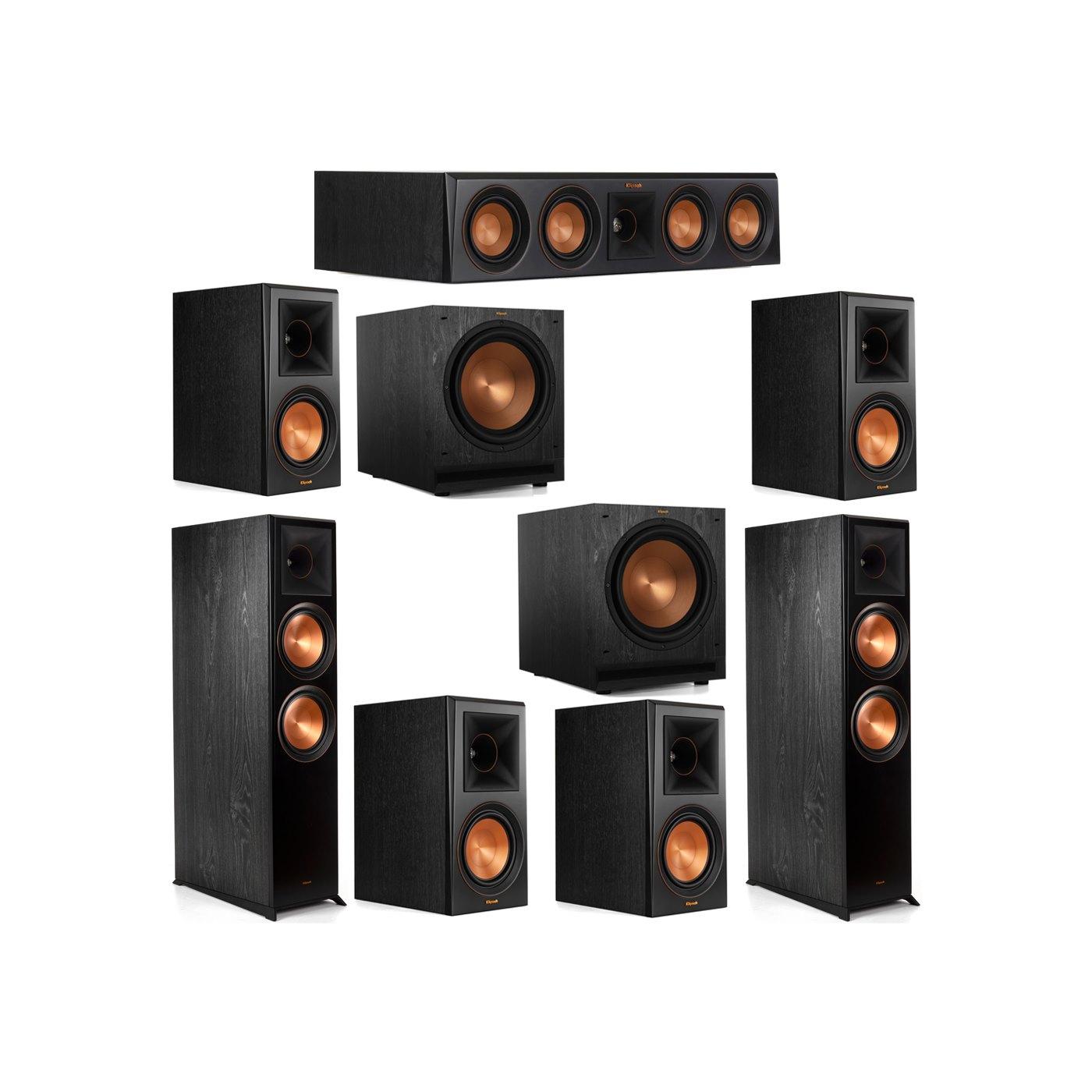 Klipsch 7.2 System with 2 RP-8000F Floorstanding Speakers, 1 Klipsch RP-404C Center Speaker, 4 Klipsch RP-600M Surround Speakers, 2 Klipsch SPL-120 Subwoofers