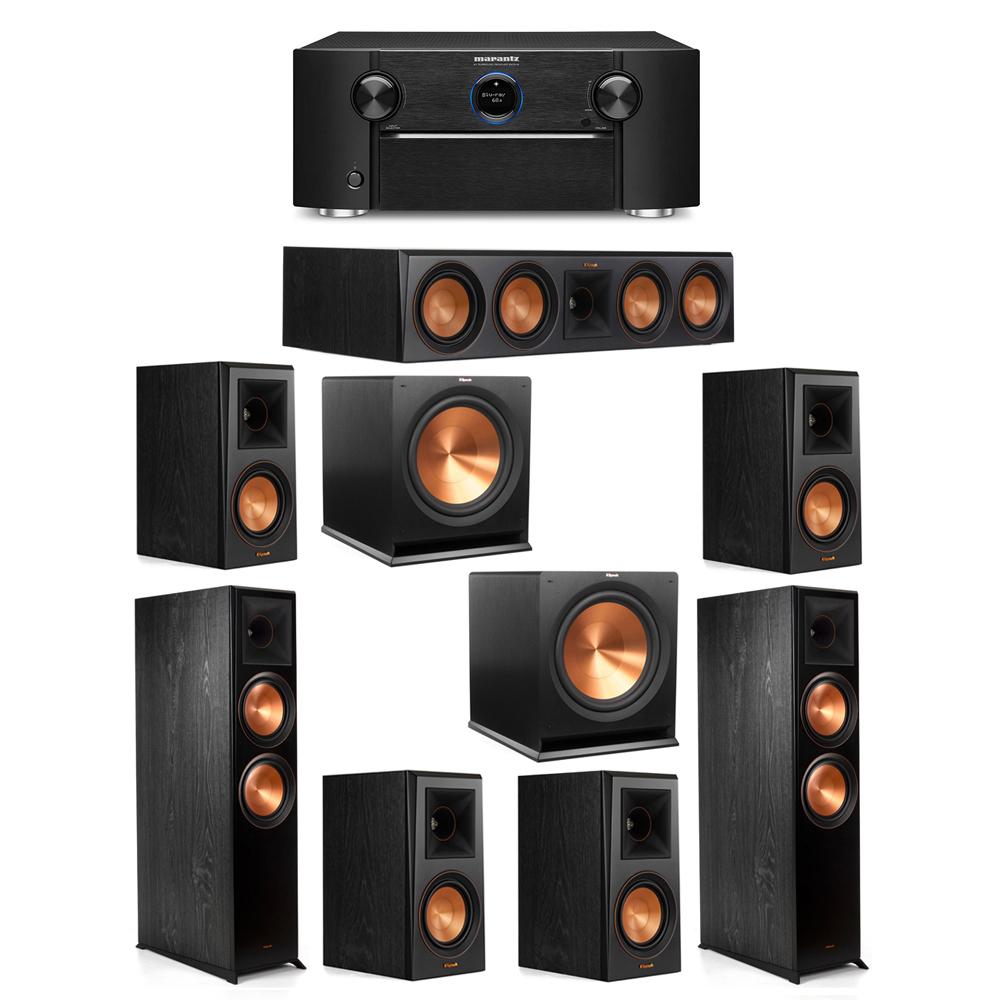 Klipsch 7.2 System with 2 RP-8000F Floorstanding Speakers, 1 Klipsch RP-504C Center Speaker, 4 Klipsch RP-500M Surround Speakers, 2 Klipsch R-115SW Subwoofers, 1 Marantz SR7012 A/V Receiver