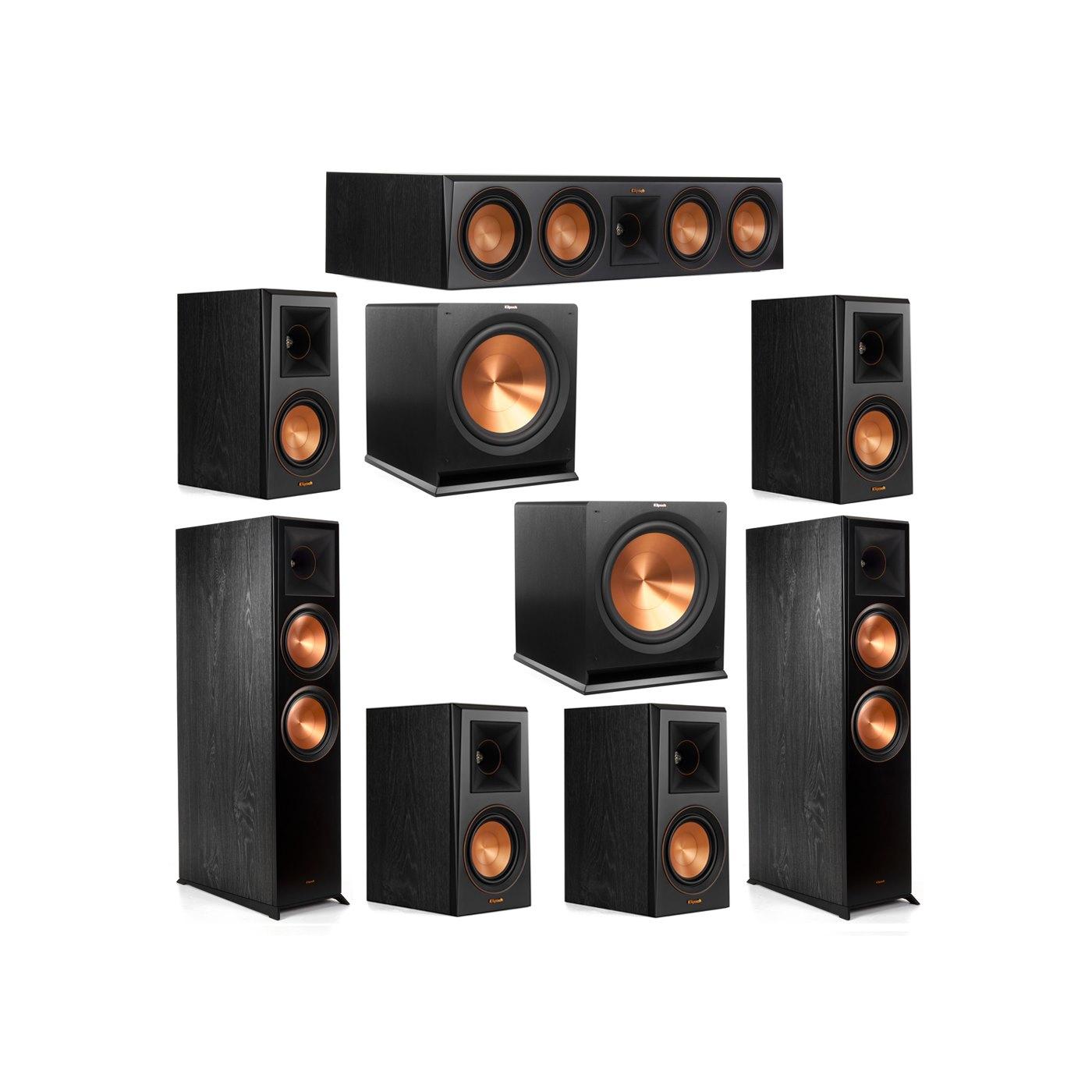 Klipsch 7.2 System with 2 RP-8000F Floorstanding Speakers, 1 Klipsch RP-504C Center Speaker, 4 Klipsch RP-500M Surround Speakers, 2 Klipsch R-115SW Subwoofers