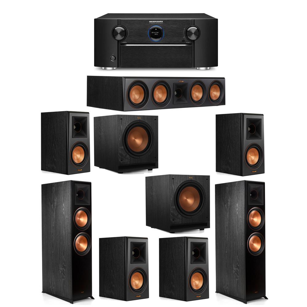 Klipsch 7.2 System with 2 RP-8000F Floorstanding Speakers, 1 Klipsch RP-504C Center Speaker, 4 Klipsch RP-500M Surround Speakers, 2 Klipsch SPL-100 Subwoofers, 1 Marantz SR7012 A/V Receiver