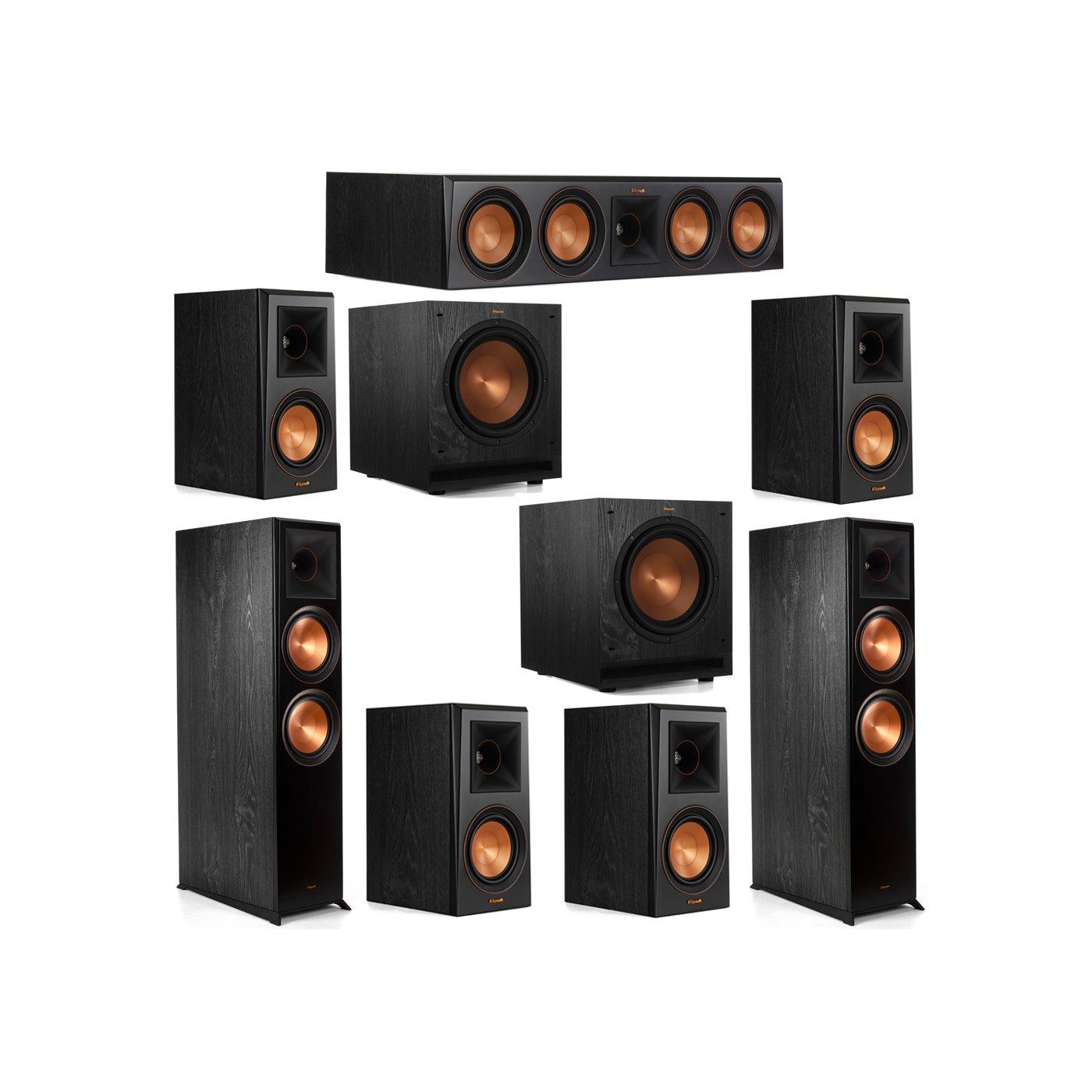 Klipsch 7.2 System with 2 RP-8000F Floorstanding Speakers, 1 Klipsch RP-504C Center Speaker, 4 Klipsch RP-500M Surround Speakers, 2 Klipsch SPL-100 Subwoofers