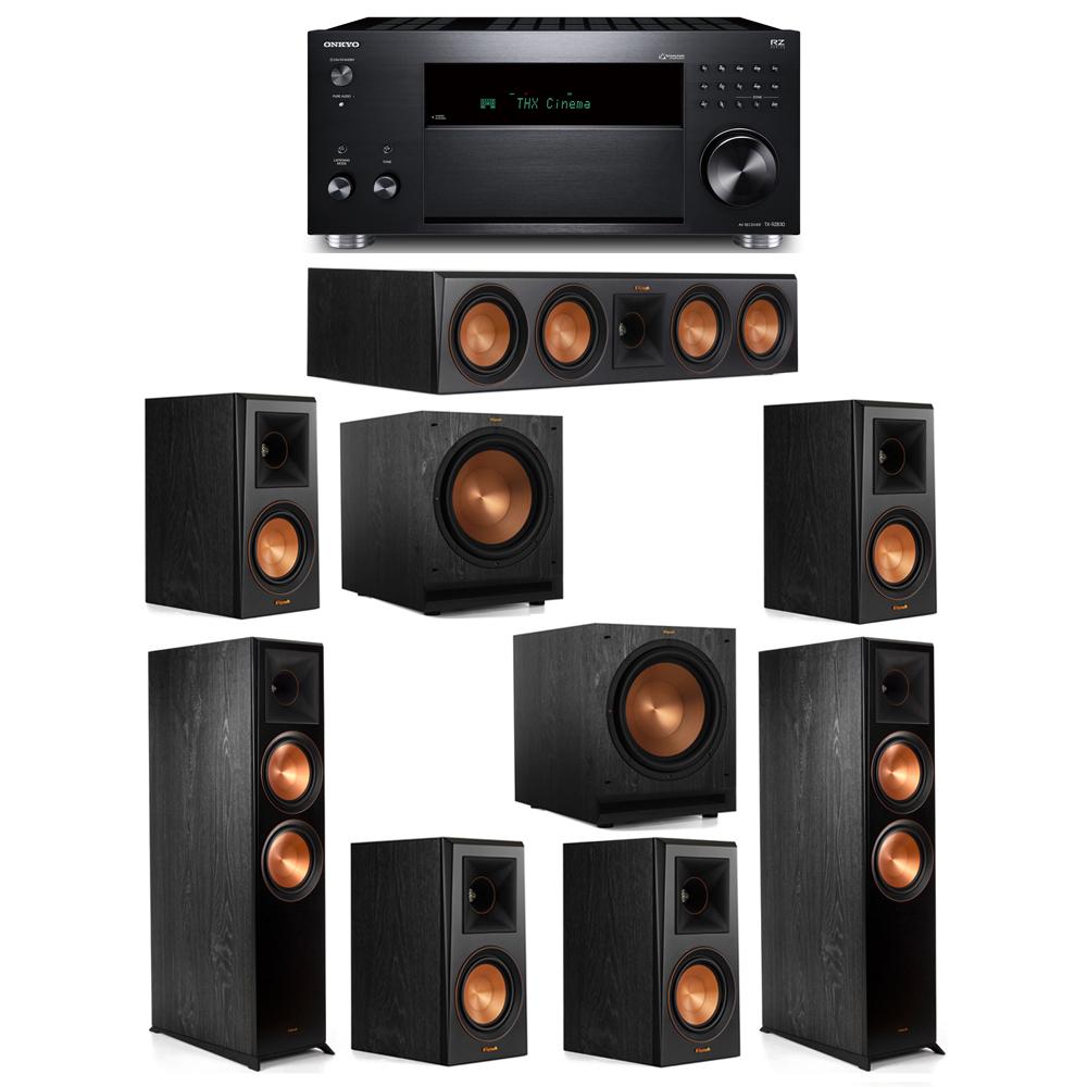 Klipsch 7.2 System with 2 RP-8000F,  1 RP-504C, 4 RP-500M, 2 SPL-120, 1 Onkyo TX-RZ830 Receiver