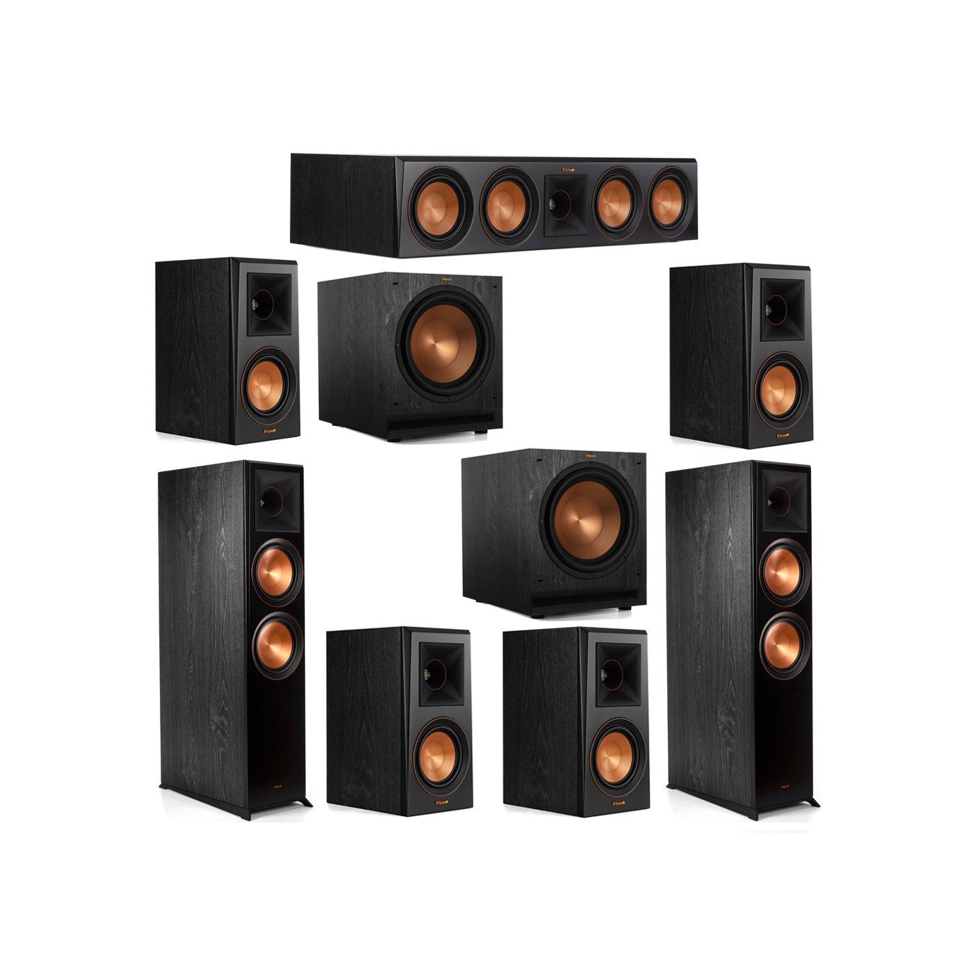Klipsch 7.2 System with 2 RP-8000F Floorstanding Speakers, 1 Klipsch RP-504C Center Speaker, 4 Klipsch RP-500M Surround Speakers, 2 Klipsch SPL-120 Subwoofers