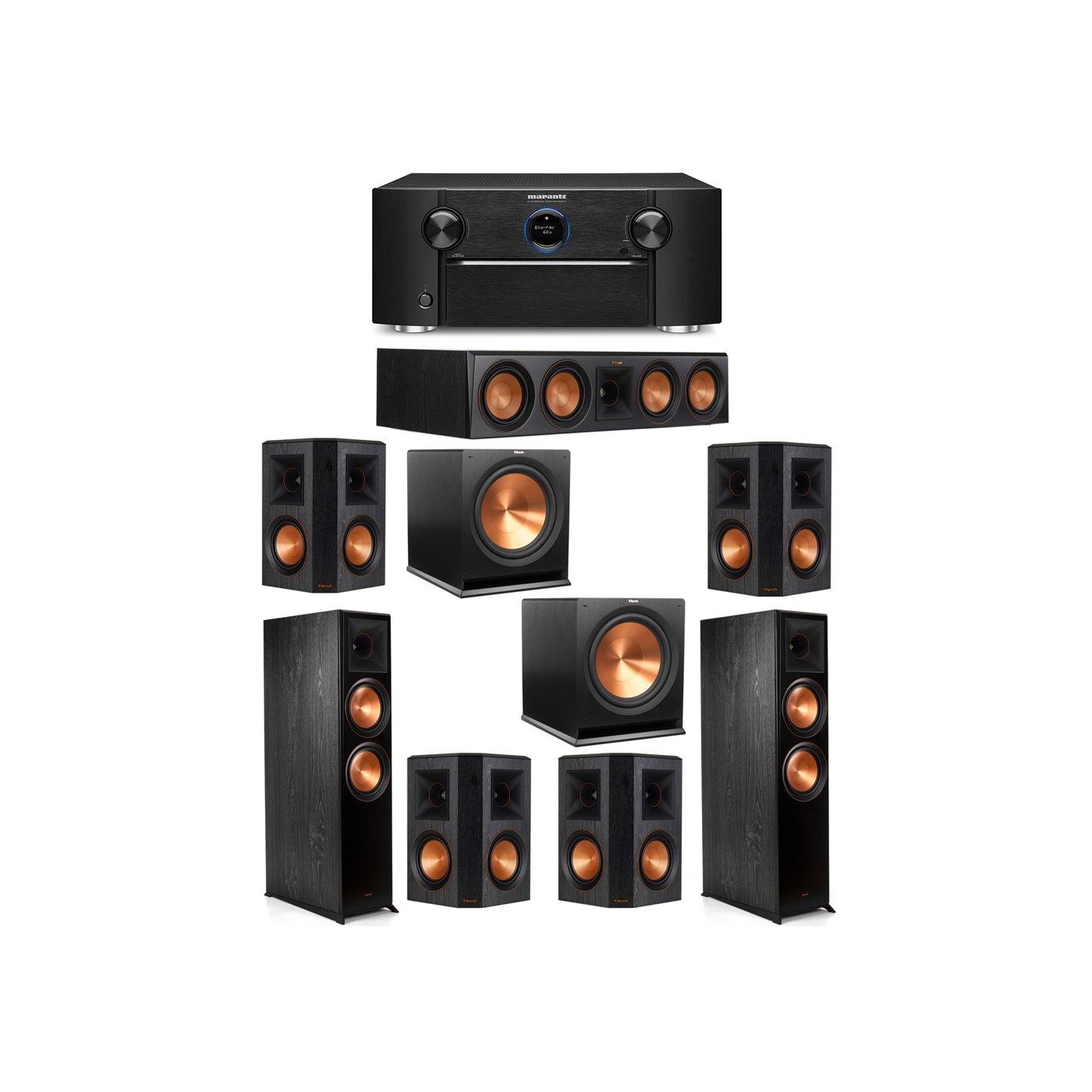 Klipsch 7.2 System with 2 RP-8000F Floorstanding Speakers, 1 Klipsch RP-504C Center Speaker, 4 Klipsch RP-502S Surround Speakers, 2 Klipsch R-115SW Subwoofers, 1 Marantz SR7012 A/V Receiver