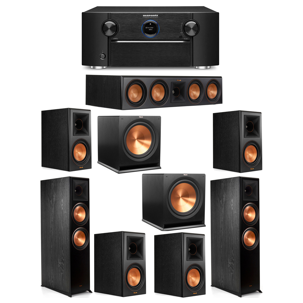 Klipsch 7.2 System with 2 RP-8000F Floorstanding Speakers, 1 Klipsch RP-504C Center Speaker, 4 Klipsch RP-600M Surround Speakers, 2 Klipsch R-115SW Subwoofers, 1 Marantz SR7012 A/V Receiver