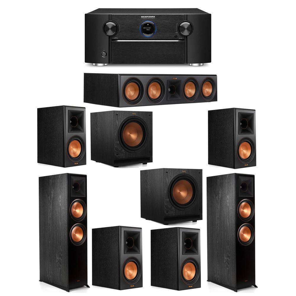 Klipsch 7.2 System with 2 RP-8000F Floorstanding Speakers, 1 Klipsch RP-504C Center Speaker, 4 Klipsch RP-600M Surround Speakers, 2 Klipsch SPL-100 Subwoofers, 1 Marantz SR7012 A/V Receiver
