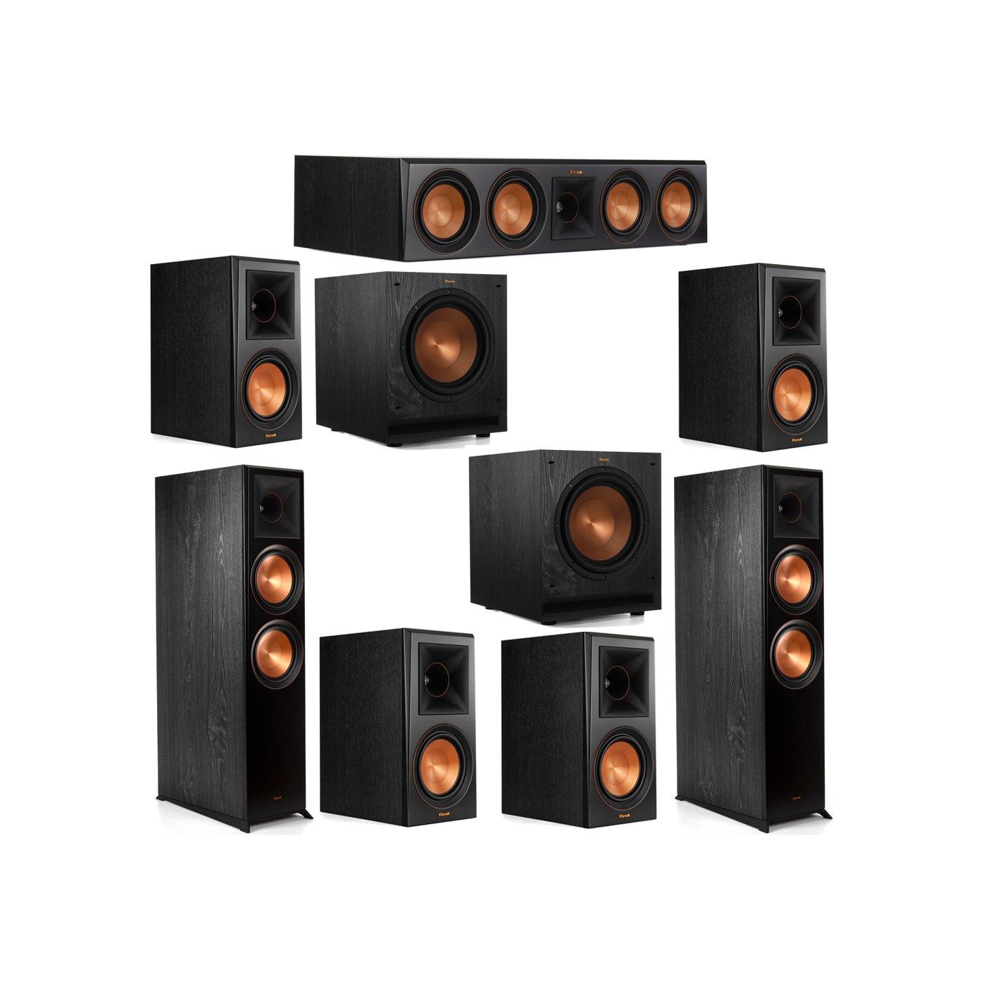 Klipsch 7.2 System with 2 RP-8000F Floorstanding Speakers, 1 Klipsch RP-504C Center Speaker, 4 Klipsch RP-600M Surround Speakers, 2 Klipsch SPL-100 Subwoofers