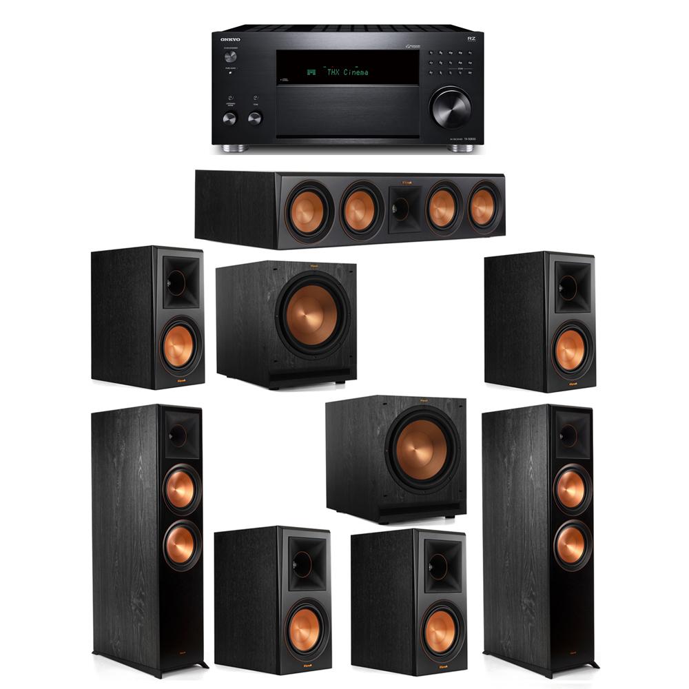 Klipsch 7.2 System with 2 RP-8000F,  1 RP-504C, 4 RP-600M, 2 SPL-120, 1 Onkyo TX-RZ830 Receiver