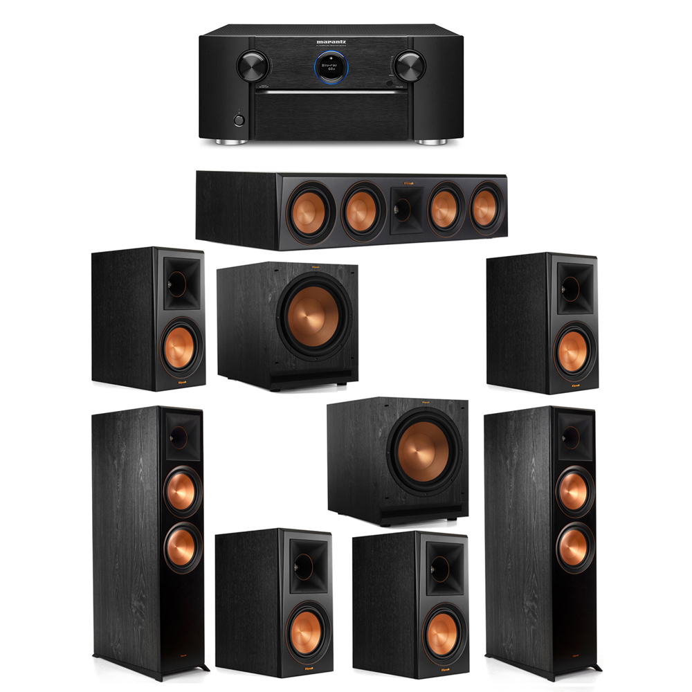 Klipsch 7.2 System with 2 RP-8000F Floorstanding Speakers, 1 Klipsch RP-504C Center Speaker, 4 Klipsch RP-600M Surround Speakers, 2 Klipsch SPL-120 Subwoofers, 1 Marantz SR7012 A/V Receiver