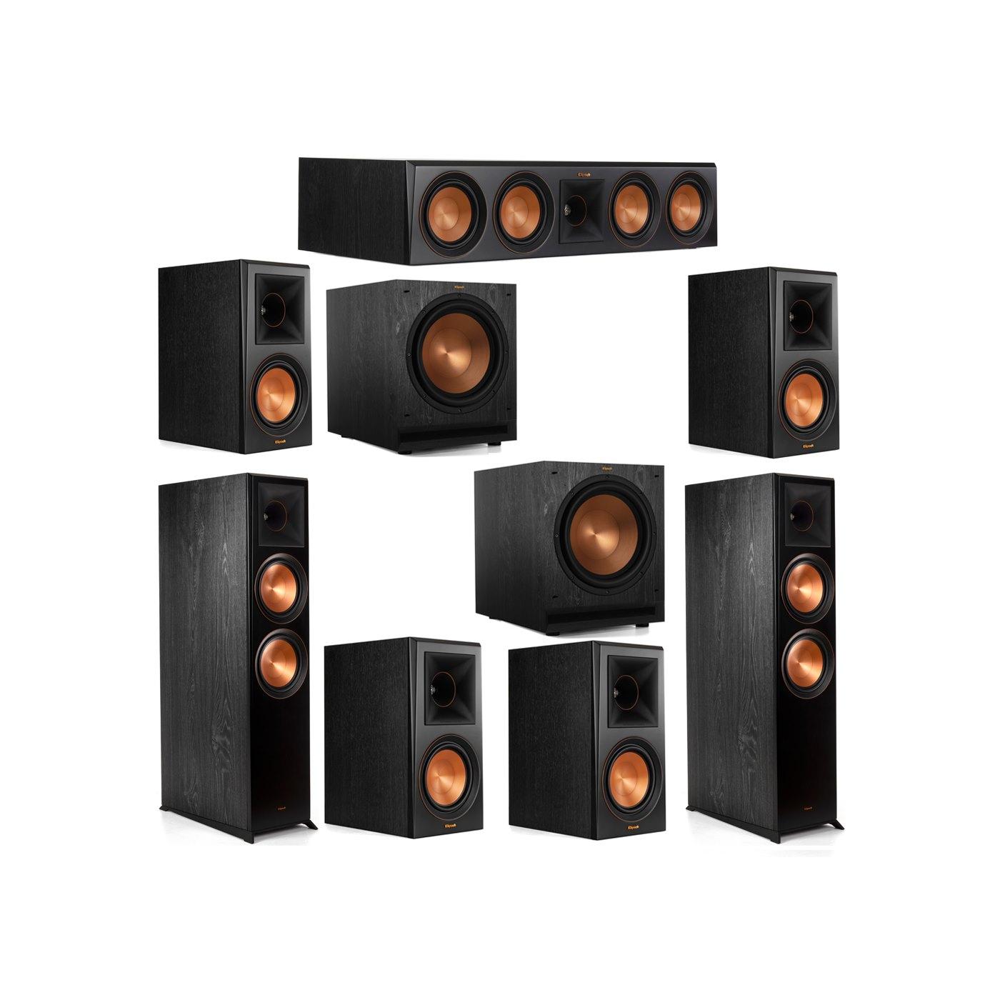 Klipsch 7.2 System with 2 RP-8000F Floorstanding Speakers, 1 Klipsch RP-504C Center Speaker, 4 Klipsch RP-600M Surround Speakers, 2 Klipsch SPL-120 Subwoofers