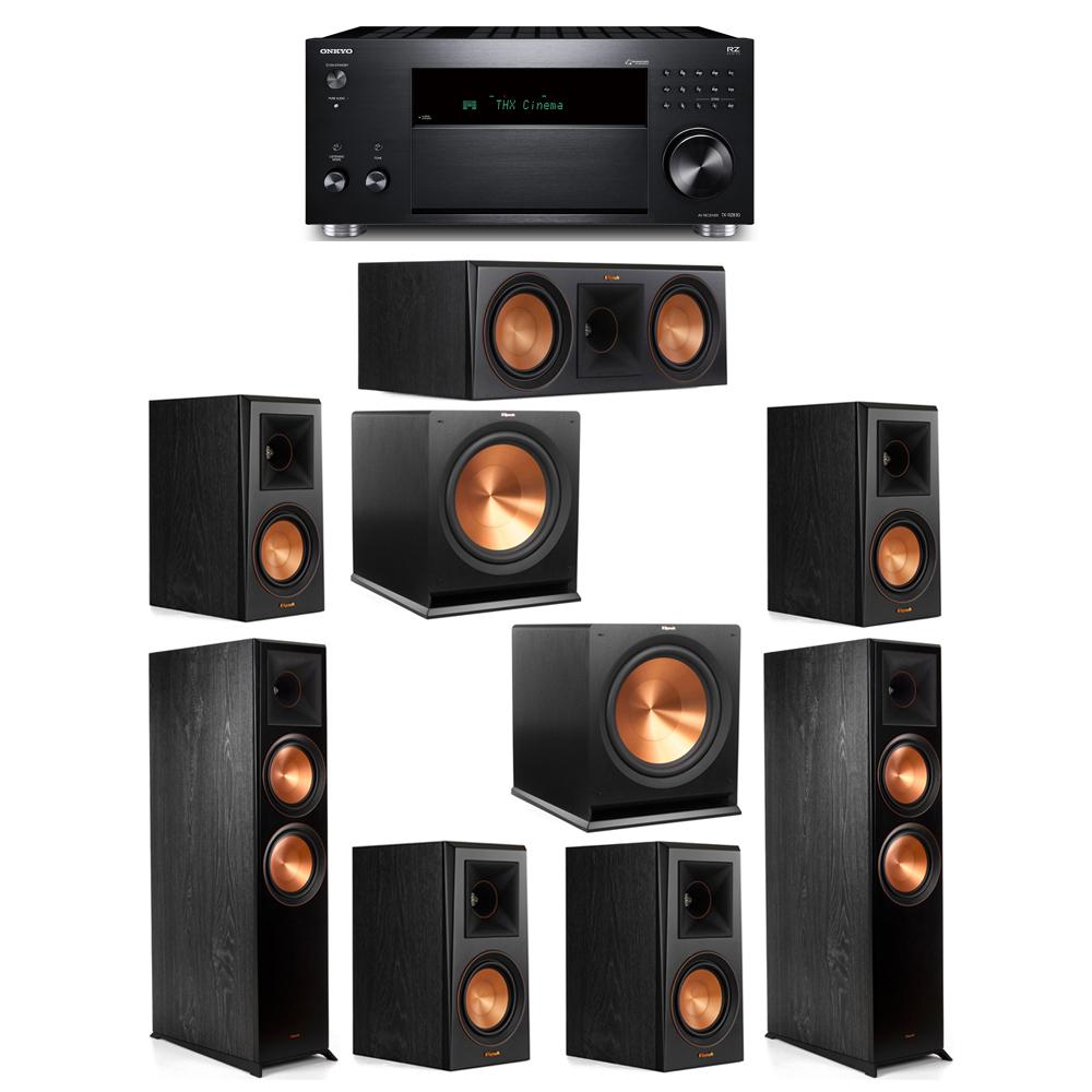 Klipsch 7.2 System with 2 RP-8000F, 1 RP-600C, 4 RP-500M, 2 R-115SW, 1 Onkyo TX-RZ830 Receiver