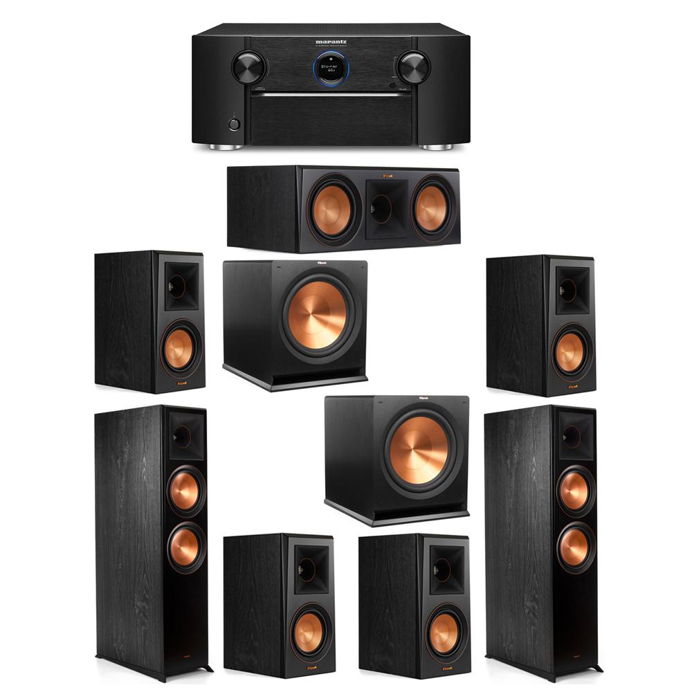 Klipsch 7.2 System with 2 RP-8000F Floorstanding Speakers, 1 Klipsch RP-600C Center Speaker, 4 Klipsch RP-500M Surround Speakers, 2 Klipsch R-115SW Subwoofers, 1 Marantz SR7012 A/V Receiver