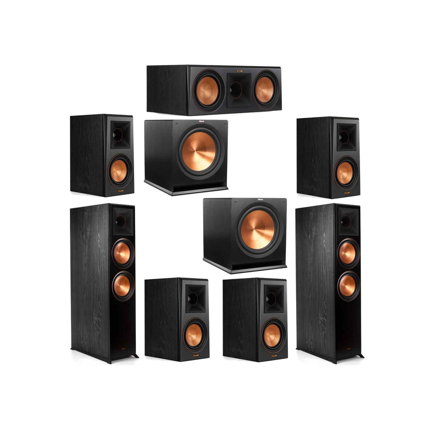Klipsch 7.2 System with 2 RP-8000F Floorstanding Speakers, 1 Klipsch RP-600C Center Speaker, 4 Klipsch RP-500M Surround Speakers, 2 Klipsch R-115SW Subwoofers