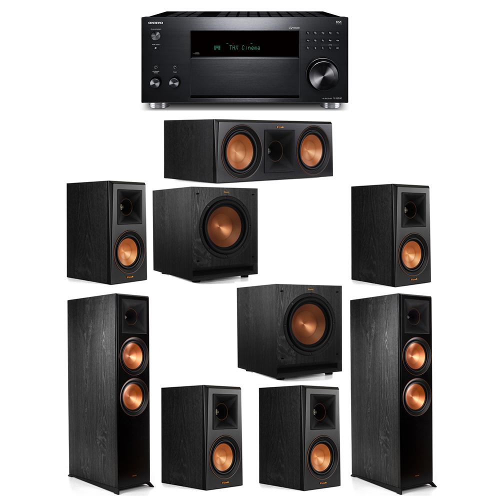 Klipsch 7.2 System with 2 RP-8000F, 1 RP-600C, 4 RP-500M, 2 SPL-100, 1 Onkyo TX-RZ830 Receiver