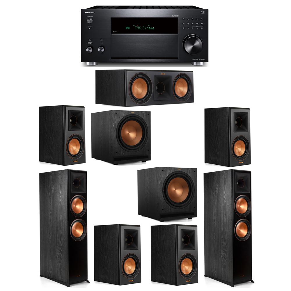 Klipsch 7.2 System with 2 RP-8000F, 1 RP-600C, 4 RP-500M, 2 SPL-120, 1 Onkyo TX-RZ830 Receiver