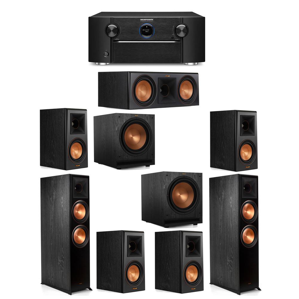Klipsch 7.2 System with 2 RP-8000F Floorstanding Speakers, 1 Klipsch RP-600C Center Speaker, 4 Klipsch RP-500M Surround Speakers, 2 Klipsch SPL-120 Subwoofers, 1 Marantz SR7012 A/V Receiver