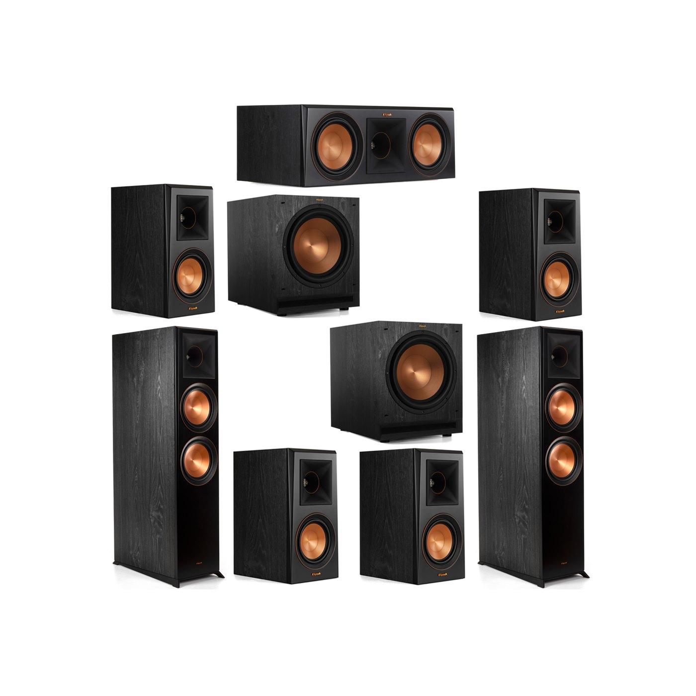Klipsch 7.2 System with 2 RP-8000F Floorstanding Speakers, 1 Klipsch RP-600C Center Speaker, 4 Klipsch RP-500M Surround Speakers, 2 Klipsch SPL-120 Subwoofers