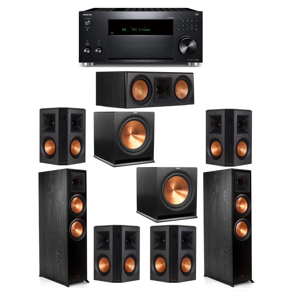 Klipsch 7.2 System with 2 RP-8000F, 1 RP-600C, 4 RP-502S, 2 R-115SW, 1 Onkyo TX-RZ830 Receiver
