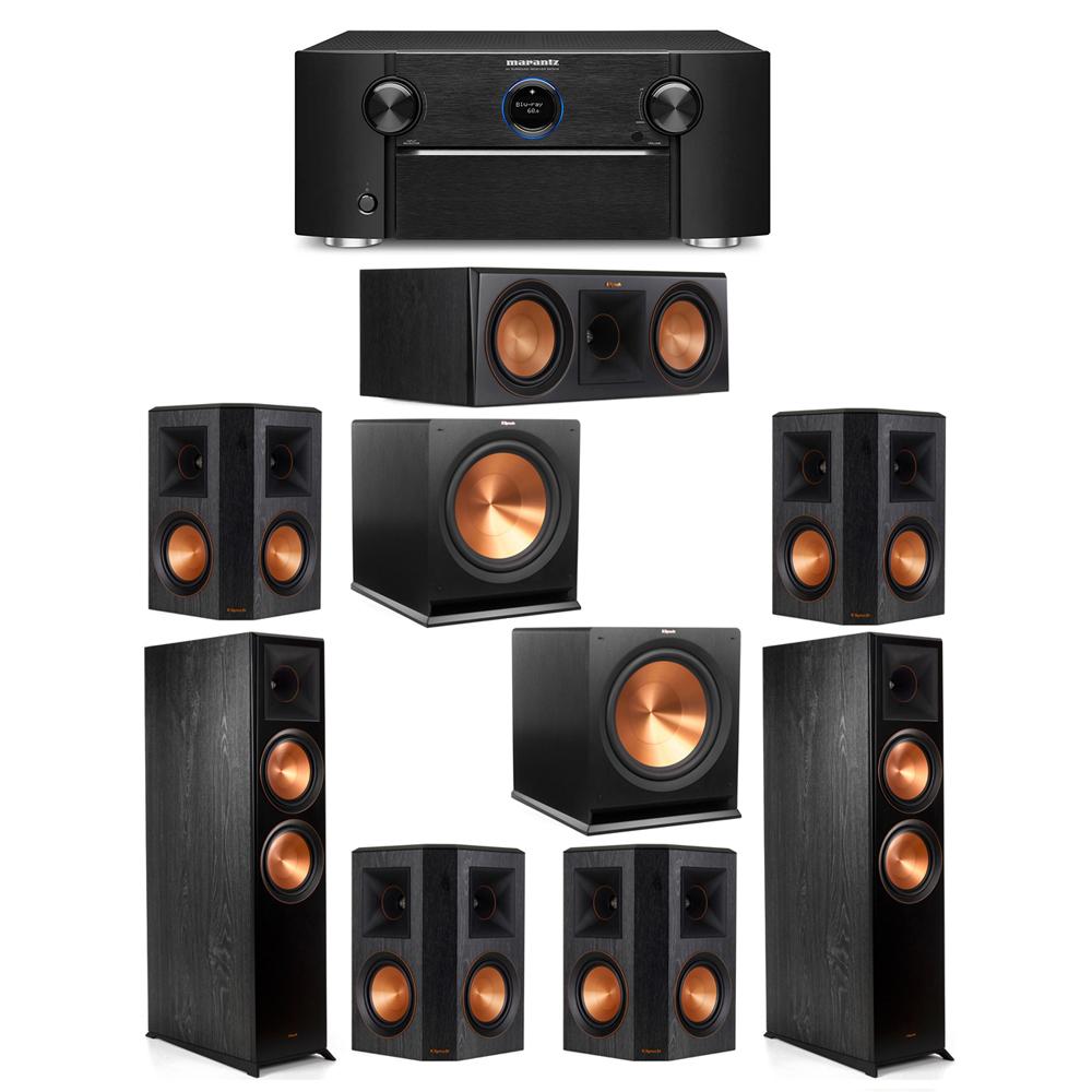 Klipsch 7.2 System with 2 RP-8000F Floorstanding Speakers, 1 Klipsch RP-600C Center Speaker, 4 Klipsch RP-502S Surround Speakers, 2 Klipsch R-115SW Subwoofers, 1 Marantz SR7012 A/V Receiver