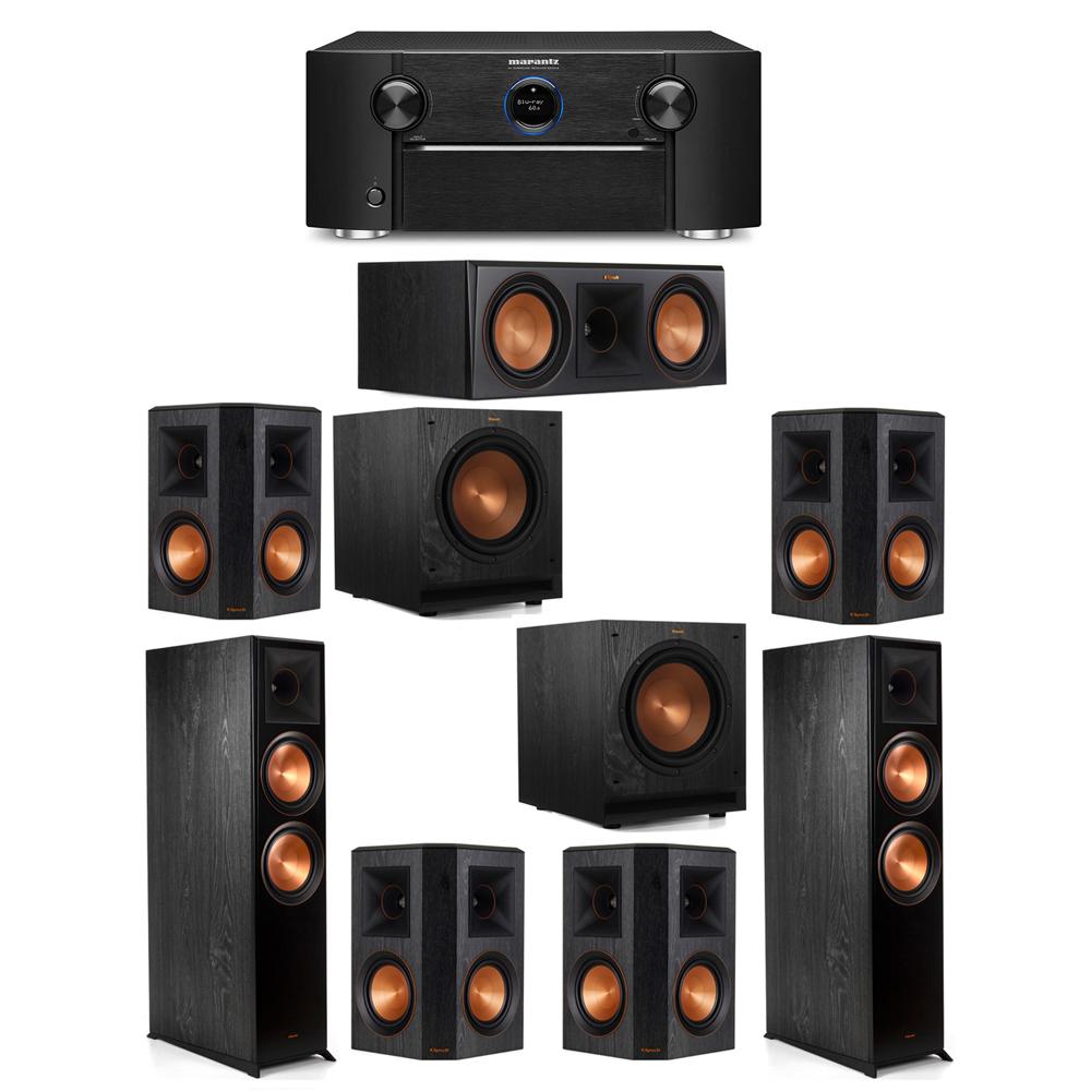 Klipsch 7.2 System with 2 RP-8000F Floorstanding Speakers, 1 Klipsch RP-600C Center Speaker, 4 Klipsch RP-502S Surround Speakers, 2 Klipsch SPL-100 Subwoofers, 1 Marantz SR7012 A/V Receiver