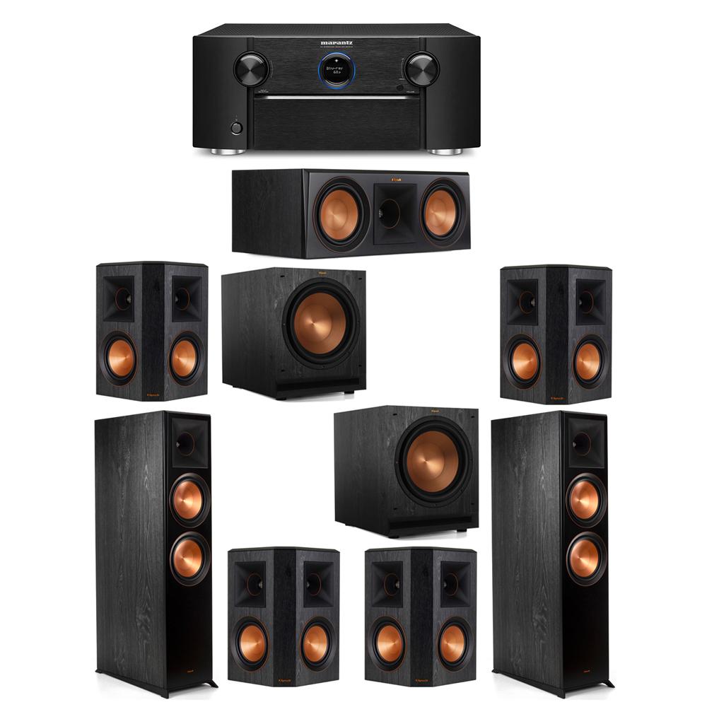 Klipsch 7.2 System with 2 RP-8000F Floorstanding Speakers, 1 Klipsch RP-600C Center Speaker, 4 Klipsch RP-502S Surround Speakers, 2 Klipsch SPL-120 Subwoofers, 1 Marantz SR7012 A/V Receiver
