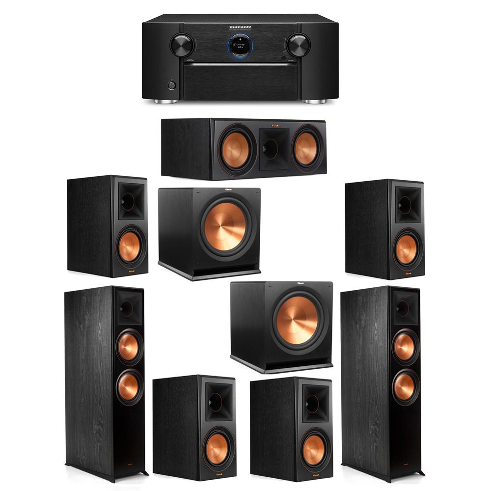 Klipsch 7.2 System with 2 RP-8000F Floorstanding Speakers, 1 Klipsch RP-600C Center Speaker, 4 Klipsch RP-600M Surround Speakers, 2 Klipsch R-115SW Subwoofers, 1 Marantz SR7012 A/V Receiver