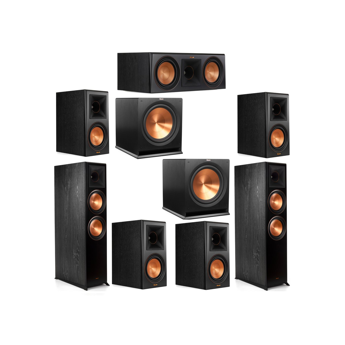 Klipsch 7.2 System with 2 RP-8000F Floorstanding Speakers, 1 Klipsch RP-600C Center Speaker, 4 Klipsch RP-600M Surround Speakers, 2 Klipsch R-115SW Subwoofers
