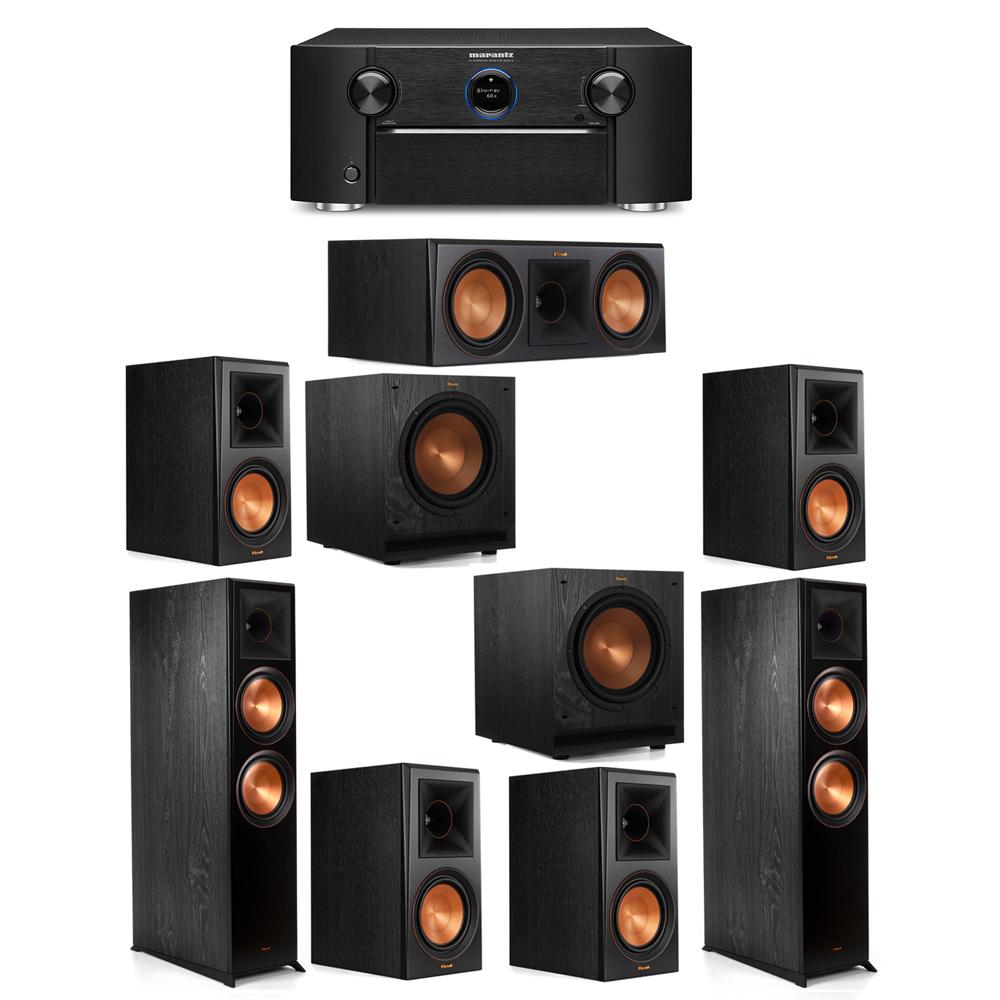 Klipsch 7.2 System with 2 RP-8000F Floorstanding Speakers, 1 Klipsch RP-600C Center Speaker, 4 Klipsch RP-600M Surround Speakers, 2 Klipsch SPL-100 Subwoofers, 1 Marantz SR7012 A/V Receiver