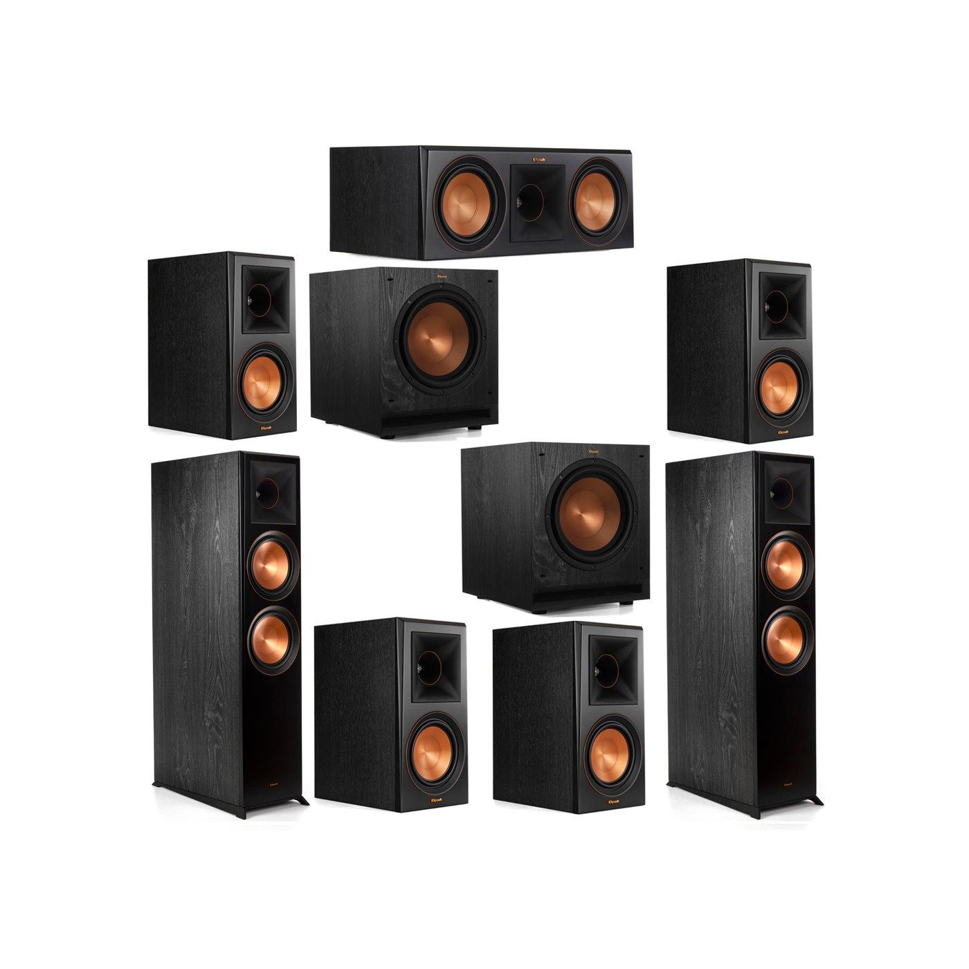 Klipsch 7.2 System with 2 RP-8000F Floorstanding Speakers, 1 Klipsch RP-600C Center Speaker, 4 Klipsch RP-600M Surround Speakers, 2 Klipsch SPL-100 Subwoofers