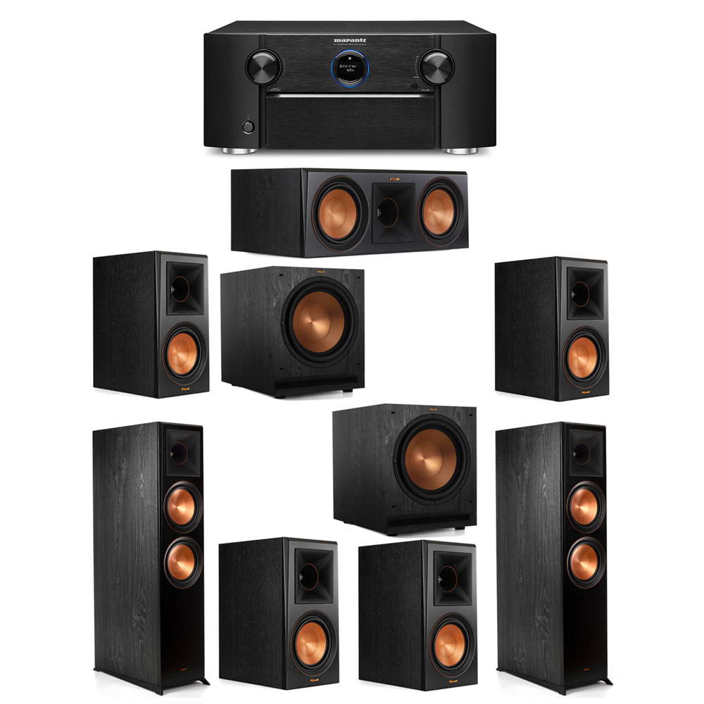 Klipsch 7.2 System with 2 RP-8000F Floorstanding Speakers, 1 Klipsch RP-600C Center Speaker, 4 Klipsch RP-600M Surround Speakers, 2 Klipsch SPL-120 Subwoofers, 1 Marantz SR7012 A/V Receiver
