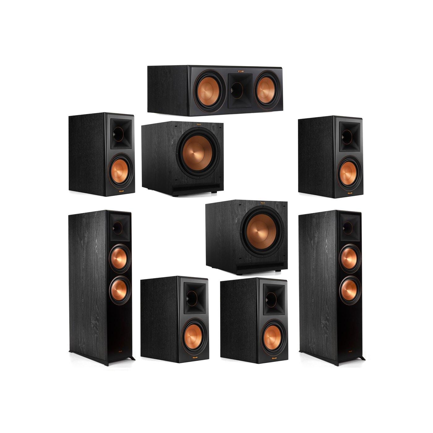Klipsch 7.2 System with 2 RP-8000F Floorstanding Speakers, 1 Klipsch RP-600C Center Speaker, 4 Klipsch RP-600M Surround Speakers, 2 Klipsch SPL-120 Subwoofers
