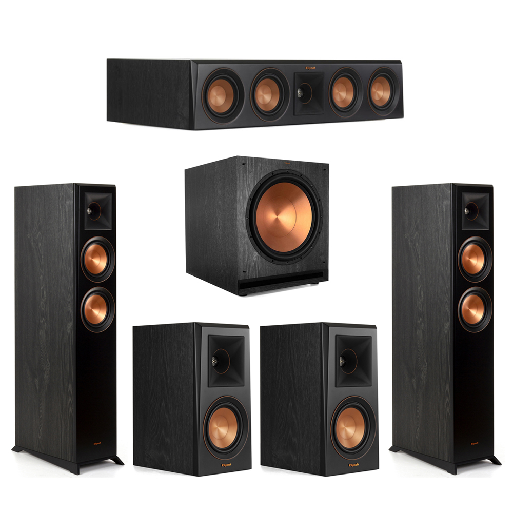 Klipsch-5.1 Ebony Home Theater System - 2 RP-5000F, 1 RP-404C, 2 RP-500M, 1 SPL-150 Subwoofer