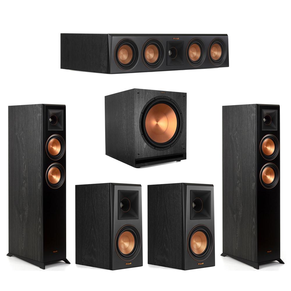 Klipsch-5.1 Ebony Home Theater System - 2 RP-5000F, 1 RP-404C, 2 RP-500M, 1 SPL-150 Subwoofer