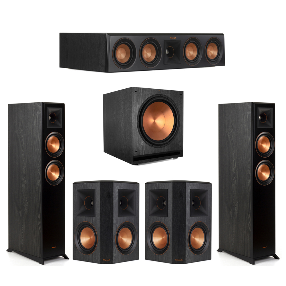Klipsch-5.1 Ebony Home Theater System - 2 RP-5000F, 1 RP-404C, 2 RP-502S, 1 SPL-150 Subwoofer