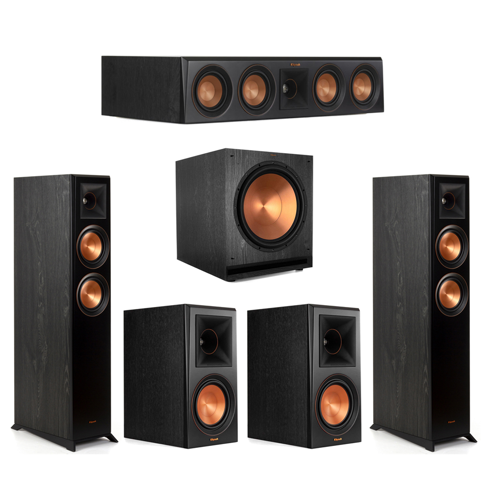 Klipsch-5.1 Ebony Home Theater System - 2 RP-5000F, 1 RP-404C, 2 RP-600M, 1 SPL-150 Subwoofer