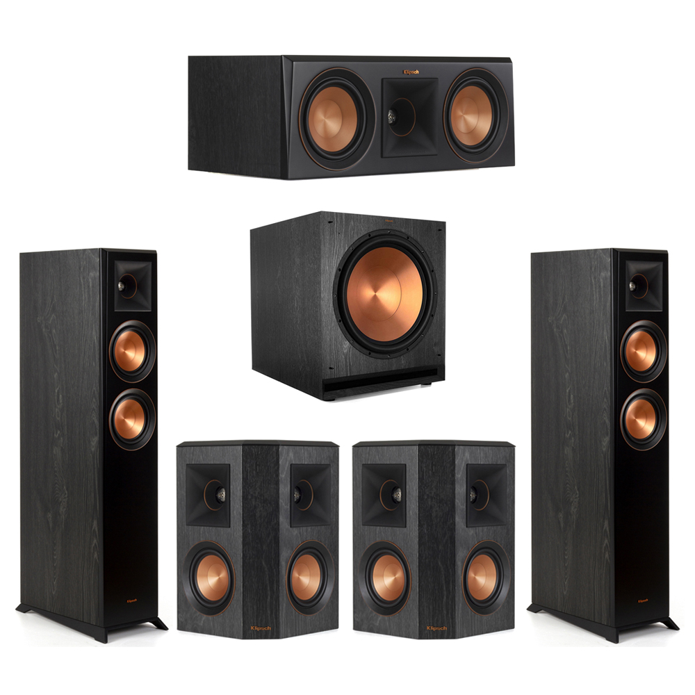 Klipsch-5.1 Ebony Home Theater System - 2 RP-5000F, 1 RP-500C, 2 RP-402S, 1 SPL-150 Subwoofer
