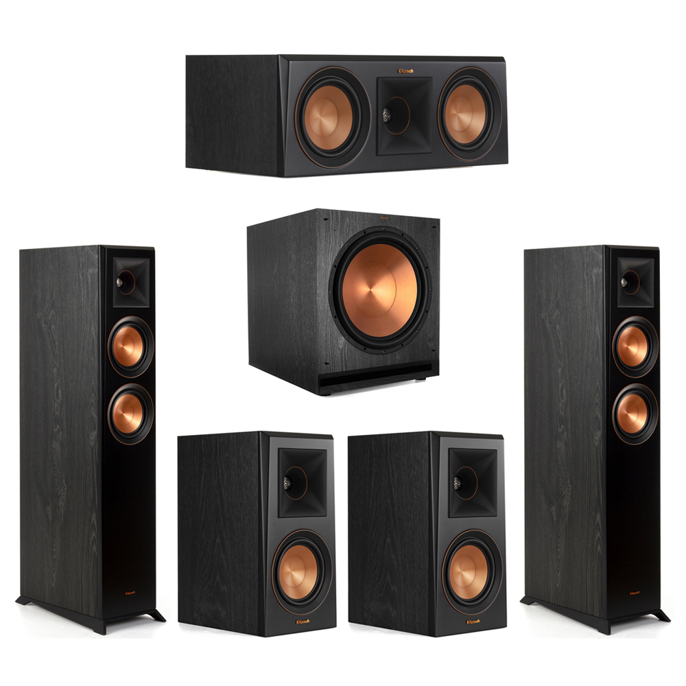 Klipsch-5.1 Ebony Home Theater System - 2 RP-5000F, 1 RP-500C, 2 RP-500M, 1 SPL-150 Subwoofer