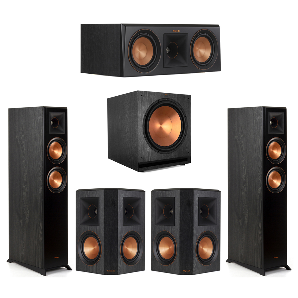 Klipsch-5.1 Ebony Home Theater System - 2 RP-5000F, 1 RP-500C, 2 RP-502S, 1 SPL-150 Subwoofer