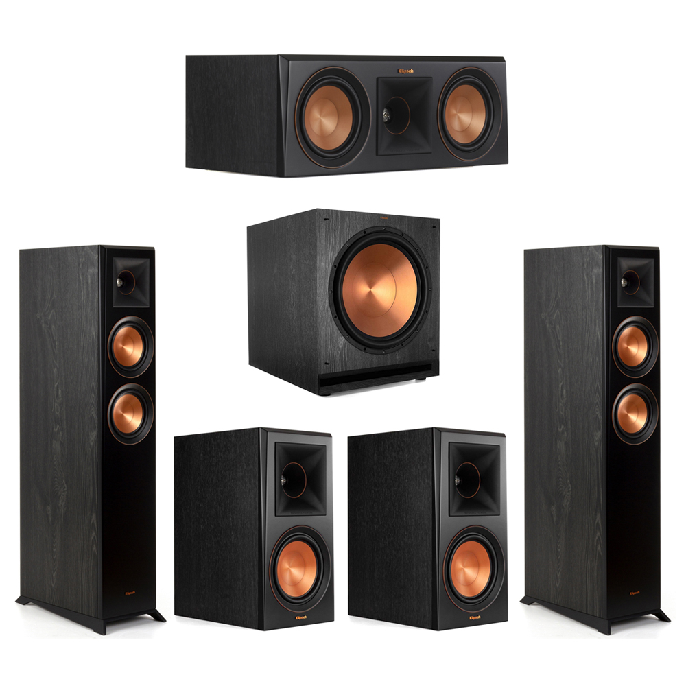 Klipsch-5.1 Ebony Home Theater System - 2 RP-5000F, 1 RP-500C, 2 RP-600M, 1 SPL-150 Subwoofer