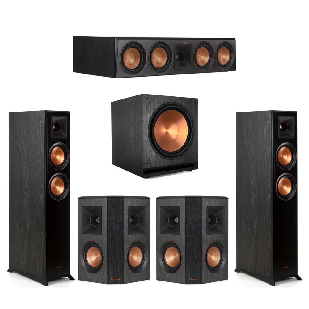 Klipsch-5.1 Ebony Home Theater System - 2 RP-5000F, 1 RP-504C, 2 RP-402S, 1 SPL-150 Subwoofer