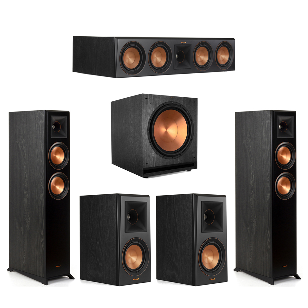 Klipsch-5.1 Ebony Home Theater System - 2 RP-5000F, 1 RP-504C, 2 RP-500M, 1 SPL-150 Subwoofer