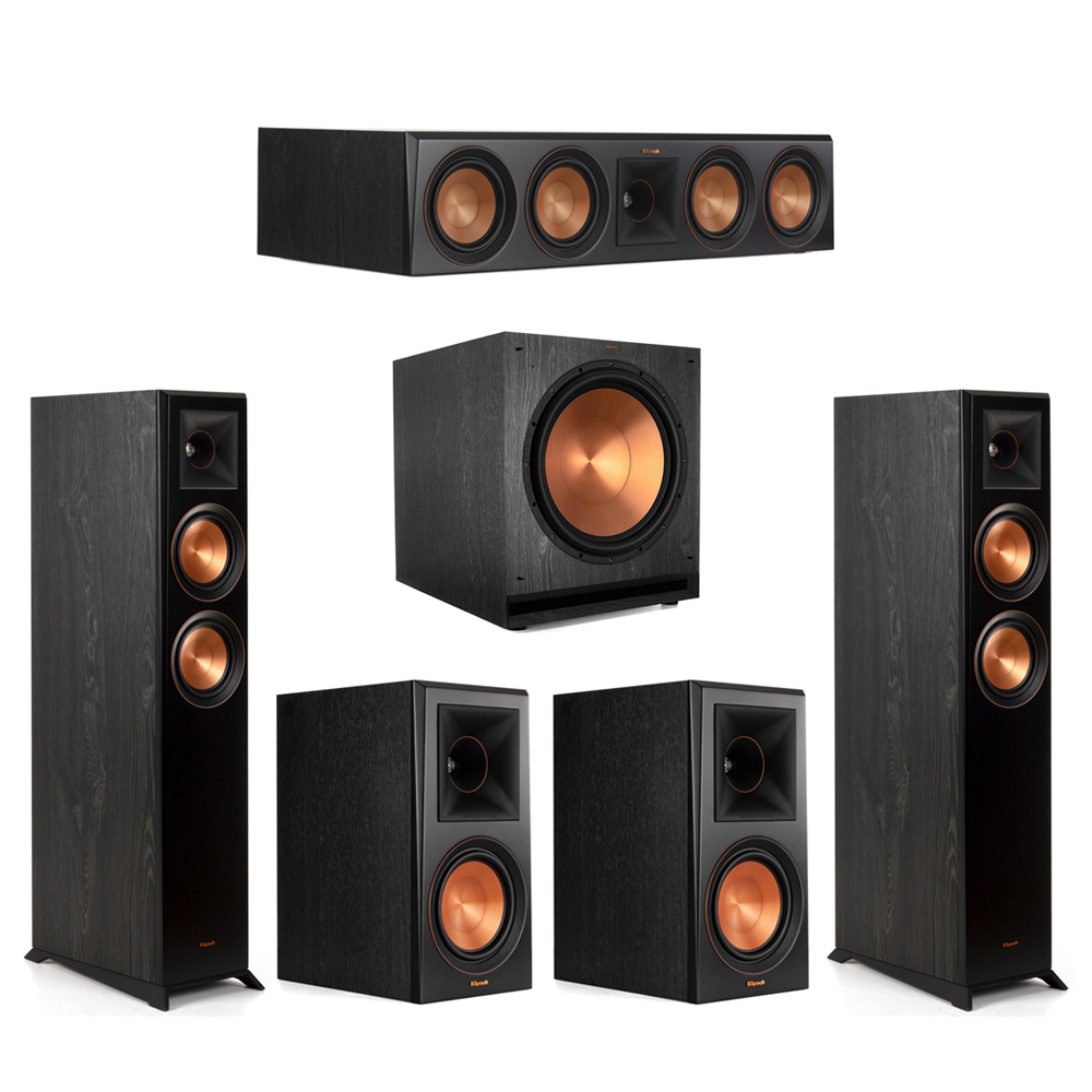 Klipsch-5.1 Ebony Home Theater System - 2 RP-5000F, 1 RP-504C, 2 RP-600M, 1 SPL-150 Subwoofer