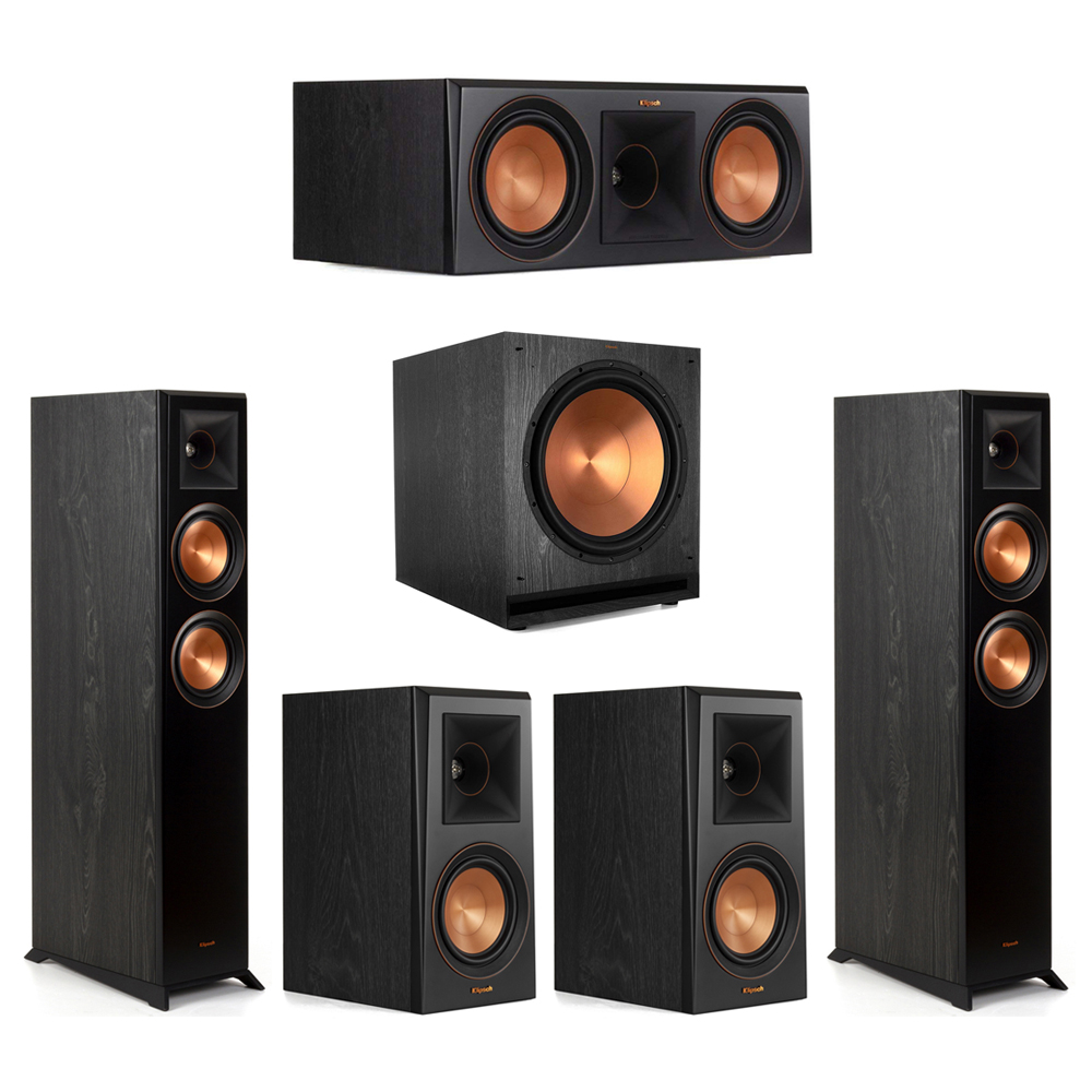 Klipsch-5.1 Ebony Home Theater System - 2 RP-5000F, 1 RP-600C, 2 RP-500M, 1 SPL-150 Subwoofer