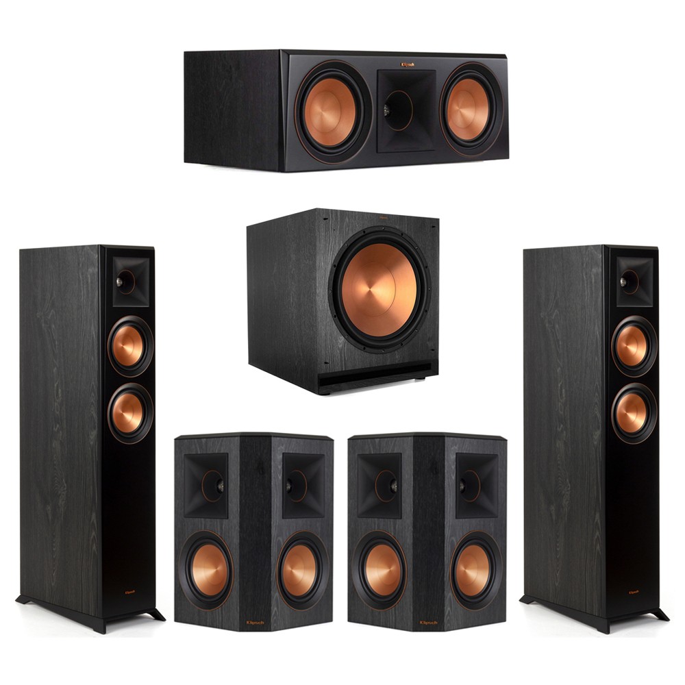 Klipsch-5.1 Ebony Home Theater System - 2 RP-5000F, 1 RP-600C, 2 RP-502S, 1 SPL-150 Subwoofer