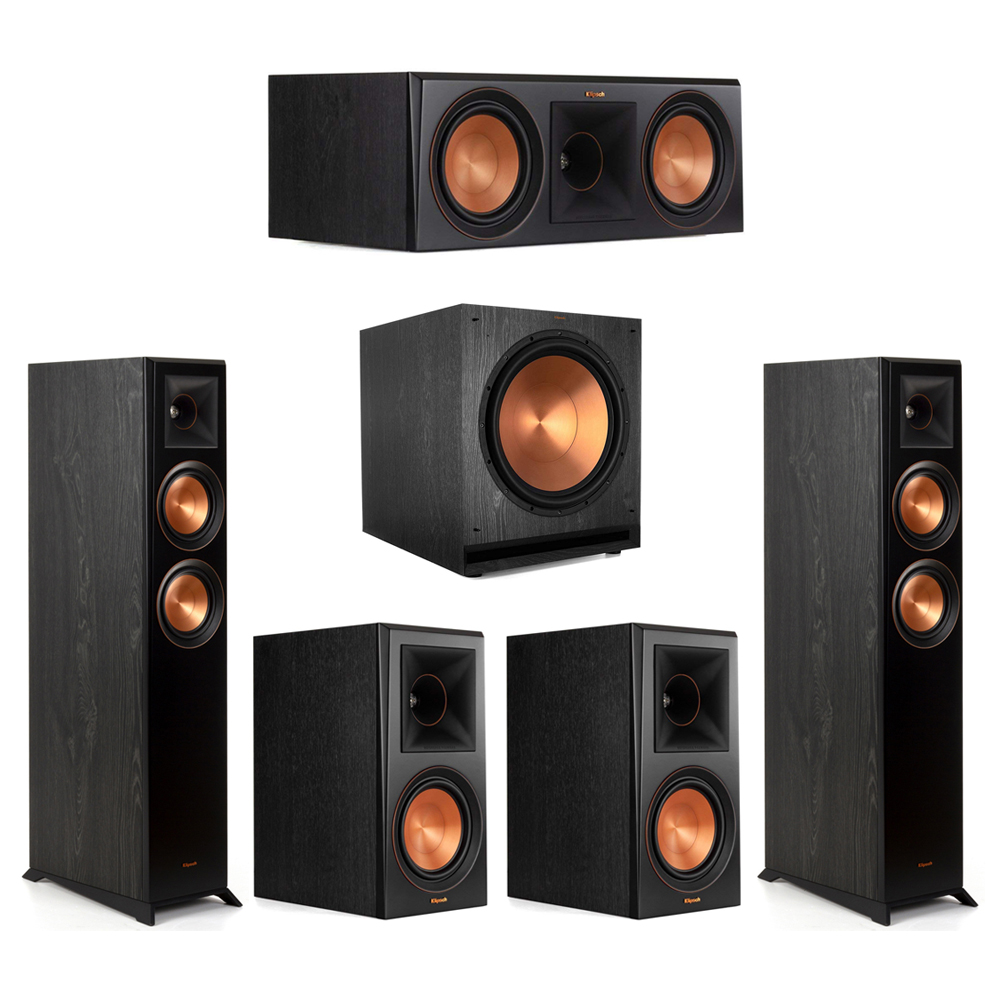 Klipsch-5.1 Ebony Home Theater System - 2 RP-5000F, 1 RP-600C, 2 RP-600M, 1 SPL-150 Subwoofer